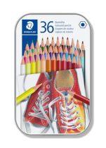 STAEDTLER Színes ceruza készlet, hatszögletű, fém dobozban, STAEDTLER, 36 különböző szín