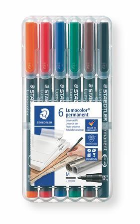 """STAEDTLER Alkoholos marker készlet, OHP, 1 mm, STAEDTLER """"Lumocolor 317 M"""", 6 különböző szín"""