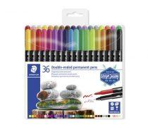 """STAEDTLER Alkoholos marker készlet, kétvégű, 0,4/2,0 mm, STAEDTLER """"Design Journey Twin-tip"""", 36 különböző szín"""