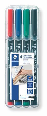 """STAEDTLER Alkoholos marker készlet, OHP, 0,6 mm, STAEDTLER """"Lumocolor 318 F"""", 4 különböző szín"""