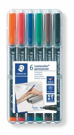 """STAEDTLER Alkoholos marker készlet, OHP, 0,6 mm, STAEDTLER """"Lumocolor 318 F"""", 6 különböző szín"""