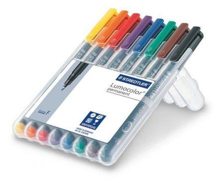 """STAEDTLER Alkoholos marker készlet, OHP, 0,6 mm, STAEDTLER """"Lumocolor 318 F"""", 8 különböző szín"""