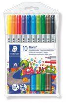"""STAEDTLER Filctoll készlet, 1-3 mm, kétvégű, kimosható, STAEDTLER """"Noris Club"""", 10 különböző szín"""