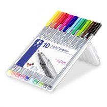 """STAEDTLER Tűfilc készlet, 0,3 mm, STAEDTLER """"Triplus Box"""", 10 különböző szín"""