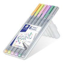 """STAEDTLER Tűfilc készlet, 0,3 mm, STAEDTLER """"Triplus Pastel"""", 6 pasztell szín"""