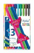 """STAEDTLER Tűfilc készlet, 0,3 mm, STAEDTLER """"Triplus Box"""", 10+3 különböző szín"""