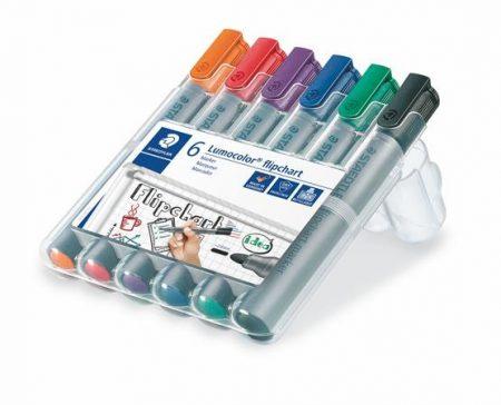 """STAEDTLER Flipchart marker készlet, 2 mm, kúpos, STAEDTLER """"Lumocolor 356"""", 6 különböző szín"""