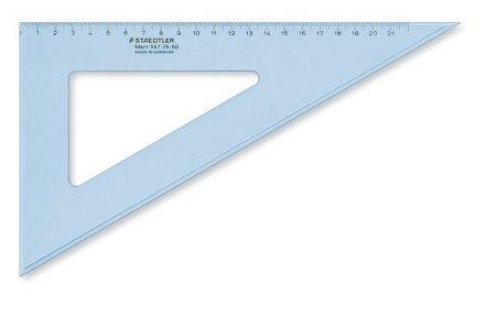 """STAEDTLER Háromszög vonalzó, műanyag, 60°, 25 cm, STAEDTLER """"Mars"""", átlátszó kék"""
