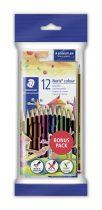 """STAEDTLER Színes ceruza készlet, hatszögletű, ajándék grafitceruzával és radírral, STAEDTLER """"Noris Club"""", 12 különböző szín"""