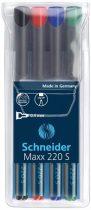 """SCHNEIDER Alkoholos marker készlet, OHP, 0,4 mm, SCHNEIDER """"Maxx 220 S"""", 4 különböző szín"""