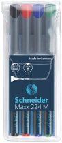"""SCHNEIDER Alkoholos marker készlet, OHP, 1 mm, SCHNEIDER """"Maxx 224 M"""", 4 különböző szín"""