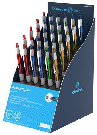 "SCHNEIDER Golyóstoll display, 0,5 mm, nyomógombos, SCHNEIDER ""Loox"", vegyes színek"