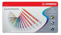 """STABILO Pasztell ceruza készlet, kerek, fém doboz, STABILO """"CarbOthello"""", 12 különböző szín"""
