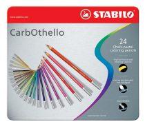 """STABILO Pasztell ceruza készlet, kerek, fém doboz,  STABILO """"CarbOthello"""", 24 különböző szín"""