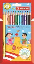 """STABILO Színes ceruza készlet, háromszögletű, vastag, STABILO """"Trio thick"""", 12 különböző szín"""