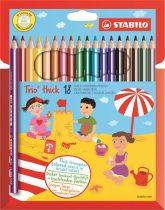 """STABILO Színes ceruza készlet, háromszögletű, vastag, STABILO """"Trio thick"""", 18 különböző szín"""