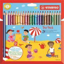"""STABILO Színes ceruza készlet, vastag, háromszögletű, hegyezővel, STABILO """"Trio thick"""", 24 különböző szín"""