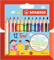"""STABILO Színes ceruza készlet, háromszögletű, vastag, rövid, STABILO """"Trio"""", 12 különböző szín"""