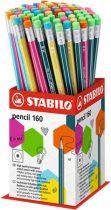 "STABILO Grafitceruza radírral display, HB, hatszögletű, STABILO ""Pencil 160"""