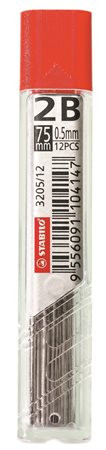 "STABILO Grafitbél, 2B, 0,5 mm, STABILO ""3205"""