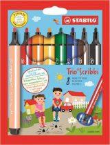 """STABILO Filctoll készlet, 1,5-2 mm, rugós hegy, STABILO """"Trio Scribbi"""", 8 különböző szín"""