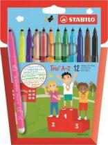 """STABILO Filctoll készlet, 0,7 mm, STABILO """"Trio A-Z"""", 12 különböző szín"""