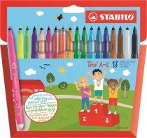 """STABILO Filctoll készlet, 0,7 mm, STABILO """"Trio A-Z"""", 18 különböző szín"""