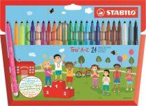 """STABILO Filctoll készlet, 0,7 mm, STABILO """"Trio A-Z"""", 24 különböző szín"""