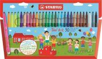 """STABILO Filctoll készlet, 0,7 mm, STABILO """"Trio A-Z"""", 30 különböző szín"""