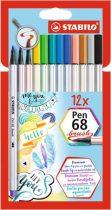 """STABILO Ecsetirón készlet, STABILO """"Pen 68 brush"""", 12 különböző szín"""