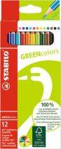 """STABILO Színes ceruza készlet, hatszögletű, STABILO """"GreenColors"""", 12 különböző szín"""