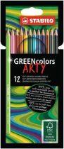 """STABILO Színes ceruza készlet, hatszögletű, STABILO """"GreenColors ARTY"""", 12 különböző szín"""