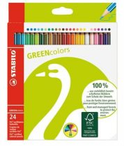 """STABILO Színes ceruza készlet, hatszögletű, STABILO """"GreenColours"""", 24 különböző szín"""