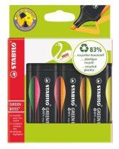 """STABILO Szövegkiemelő készlet, 2-5 mm, STABILO """"Green Boss"""", 4 különböző szín"""