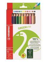 """STABILO Színes ceruza készlet, háromszögletű, vastag, STABILO """"GreenTrio"""", 12 különböző szín"""