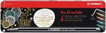 """STABILO Rostirón készlet, 1,4 mm, fém doboz, STABILO """"Pen 68 metallic"""", 6 különböző szín"""