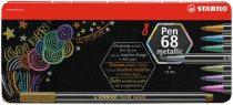 """STABILO Rostirón készlet, fém doboz, 1,4 mm, STABILO """"Pen 68 metallic"""", 8 különböző szín"""