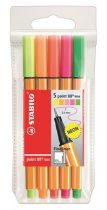 """STABILO Tűfilc készlet, 0,4 mm, STABILO """"Point 88 Mini Neon"""", 5 különböző szín"""