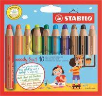 """STABILO Színes ceruza készlet, kerek, vastag, STABILO """"Woody 3 in 1"""", 10 különböző szín"""