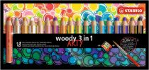 """STABILO Színes ceruza készlet, kerek, vastag, STABILO """"Woody ARTY 3 in 1"""", 18 különböző szín"""