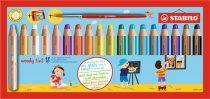 """STABILO Színes ceruza készlet, kerek, vastag, STABILO """"Woody 3 in 1"""", 18 különböző szín"""
