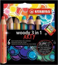"""STABILO Színes ceruza készlet, kerek, vastag, STABILO """"Woody ARTY 3 in 1"""", 6 különböző szín"""