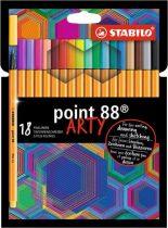 """STABILO Tűfilc készlet, 0,4 mm, STABILO """"Point 88 ARTY"""", 18 különböző szín"""
