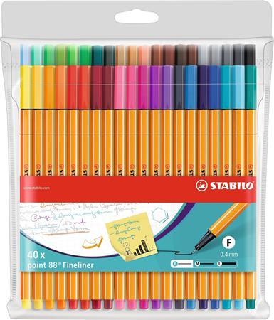 """STABILO Tűfilc készlet, 0,4 mm, STABILO """"Point 88"""", 40 különböző szín"""
