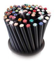 ART CRYSTELLA Ceruzák tartóban, vegyes színű SWAROVSKI® kristállyal, 50db-os szett, ART CRYSTELLA®
