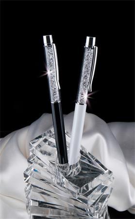 ART CRYSTELLA Golyóstoll, krémfehér, fehér SWAROVSKI® kristállyal töltve, 14 cm, ART CRYSTELLA®
