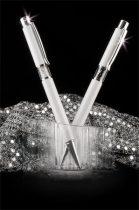 ART CRYSTELLA Golyóstoll, fehér, középen fehér SWAROVSKI® kristállyal töltve, 14cm, ART CRYSTELLA®