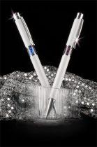 ART CRYSTELLA Golyóstoll, fehér, középen zafírkék SWAROVSKI® kristállyal töltve, 14cm, ART CRYSTELLA®