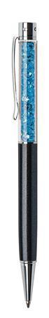 ART CRYSTELLA Golyóstoll, fekete, felül aquakék SWAROVSKI® kristállyal töltve, 14 cm, ART CRYSTELLA®