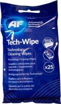 """AF Tisztítókendő, képernyőhöz, alkoholmentes, nedves, 25 db, AF """"Tech-wipes"""""""
